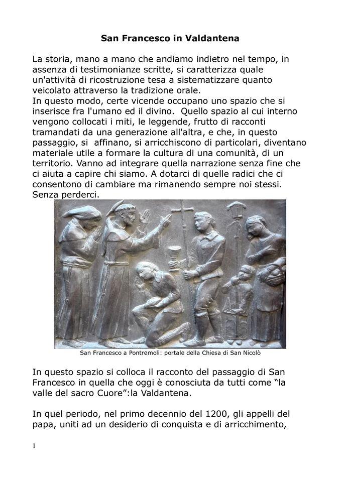 San Francesco sulla via francigena,la storia: pag. 1