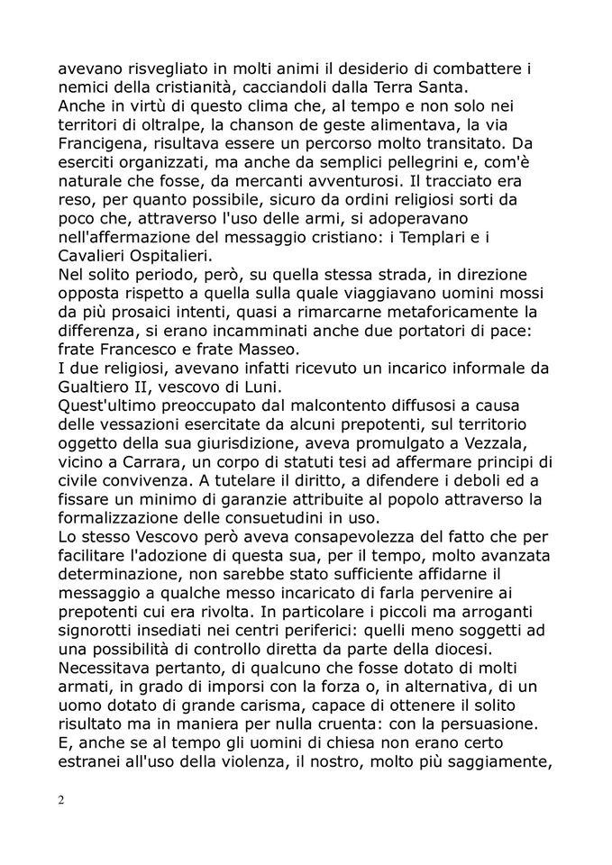 San Francesco sulla via francigena,la storia: pag. 2