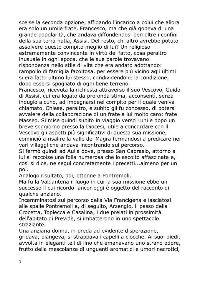 San Francesco sulla via francigena,la storia: pag. 3