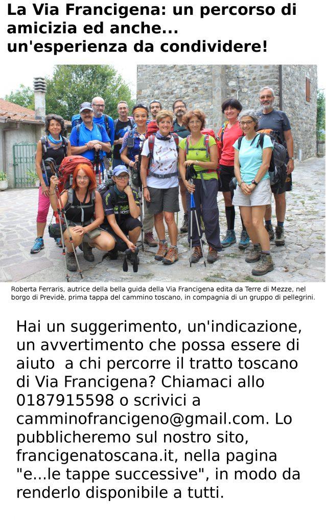 Prima tappa di Via Francigena toscana: un gruppo di pellegrini guidati da Roberta Ferraris, autrice della guida edita da Terre di Mezzo