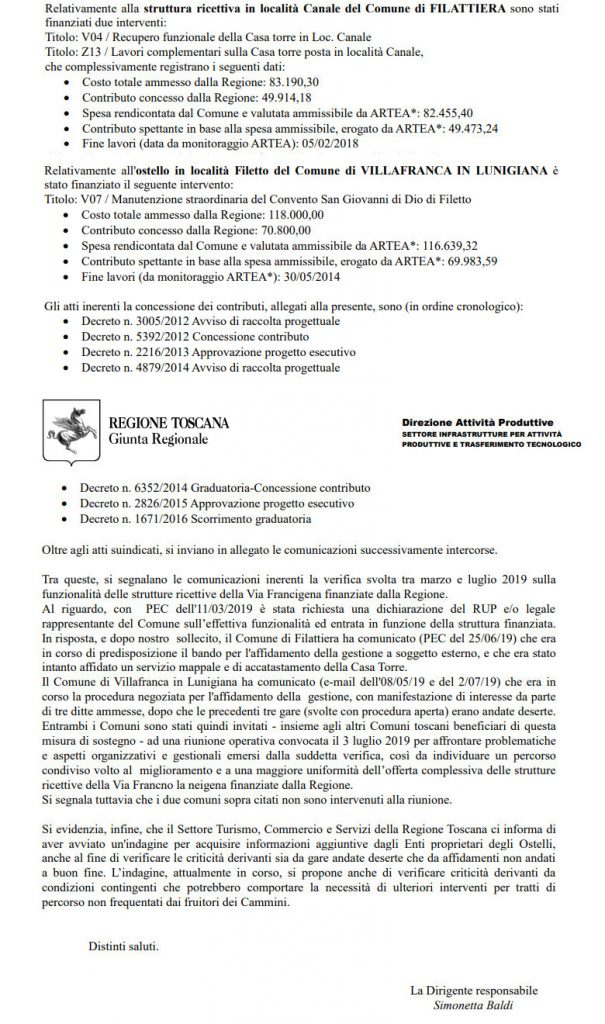 Via Francigena: finanziamenti Regione Toscana