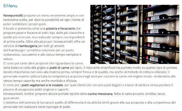 Novepunto80 ristorante pizzeria a Sarzana, sul percorso ufficiale della via Francigena toscana