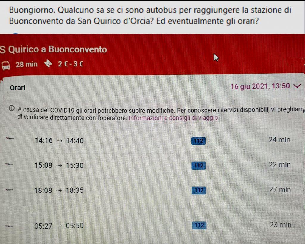 Orari autobus da S. Quirico a Buonconvento