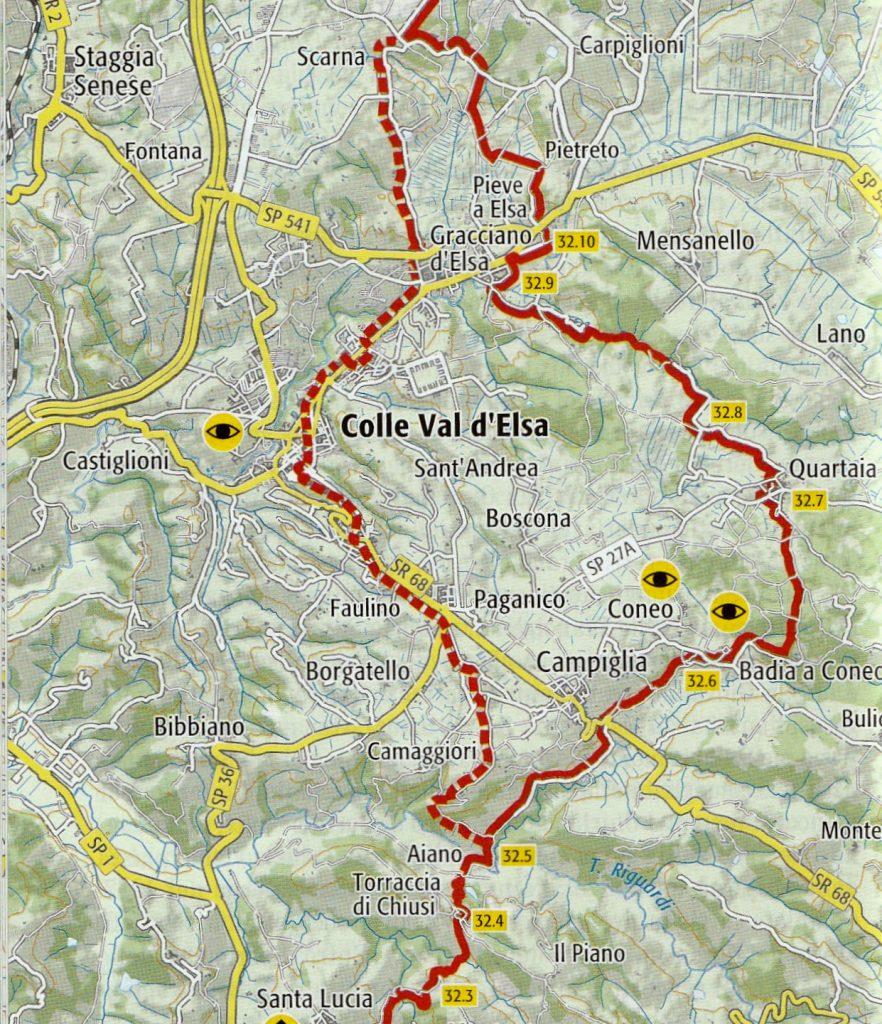 Variante della Valdelsa sulla tappa di via Francigena toscana da San Gimignano a Monteriggioni