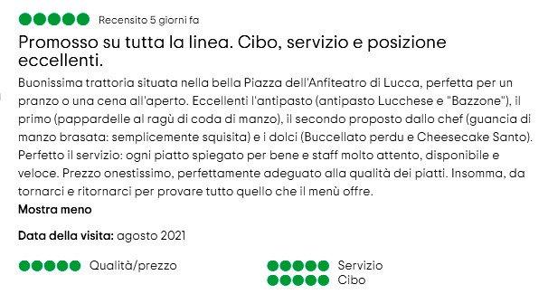 Trattoria l'Angolo Tondo a Lucca