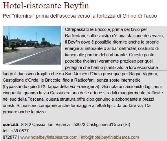 Via Francigena toscana Hotel/ristorante Beyfin a Castiglione d'orcia